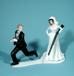Shotgun Wedding Bride Groom Cake Topper Gun