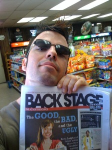 Conor holding up the issue of Backstage West featuring me on the cover